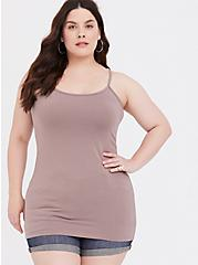 Plus Size Taupe Scoop Neck Tunic Foxy Cami, TOFFEE BROWN, hi-res
