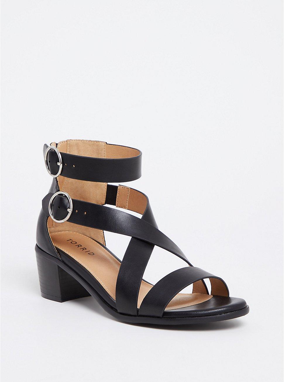 Black Faux Leather Strappy Sandal (WW), BLACK, hi-res
