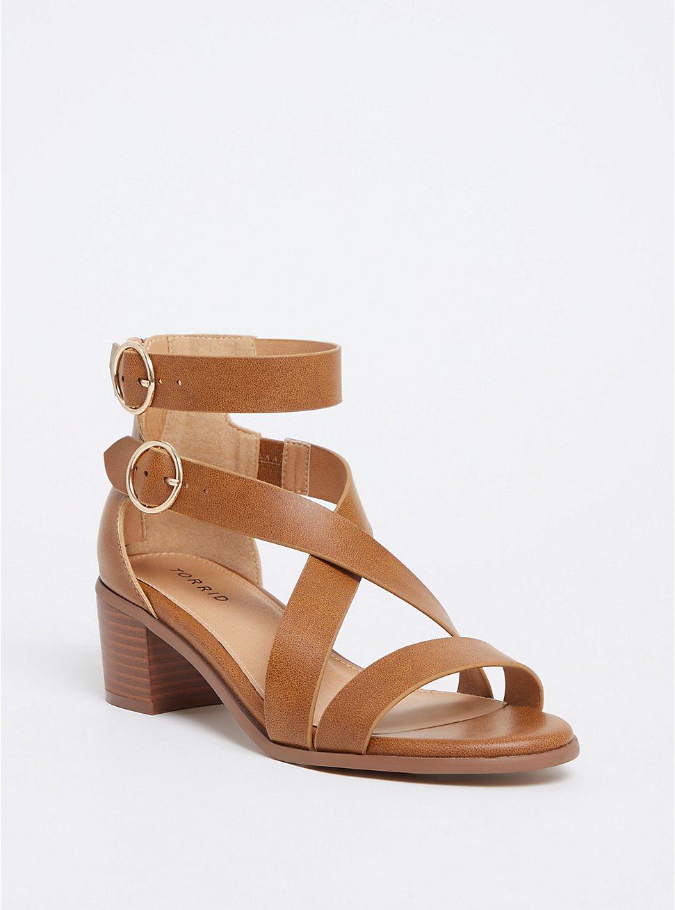 Cognac Faux Leather Strappy Sandal (WW), COGNAC, hi-res