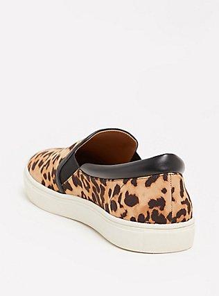 Plus Size Leopard Faux Suede Slip-On Sneakers (WW), LEOPARD, alternate