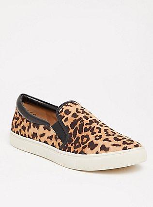 Plus Size Leopard Faux Suede Slip-On Sneakers (WW), LEOPARD, hi-res