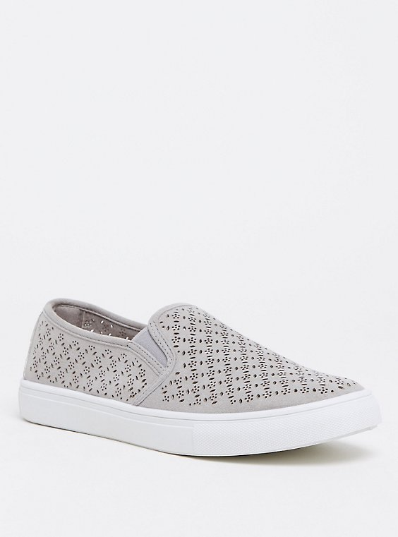 Grey Slip-On Faux Suede Laser Cut Sneaker (WW), , hi-res