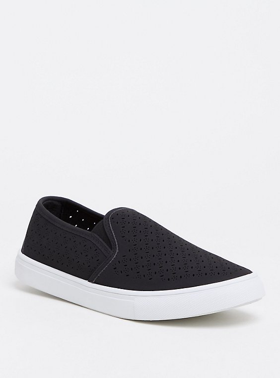 Black Slip-On Faux Suede Laser Cut Sneaker (WW), , hi-res