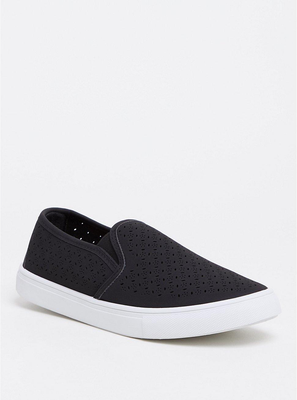 Black Slip-On Faux Suede Laser Cut Sneaker (WW), BLACK, hi-res
