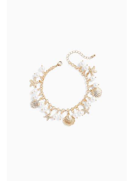 Plus Size Faux Pearl & Gold-Tone Seashell Charm Bracelet , GOLD, hi-res