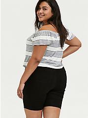 Plus Size Super Soft Multi Stripe Off Shoulder Crop Top, STRIPES, alternate