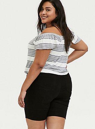 Super Soft Multi Stripe Off Shoulder Crop Top, STRIPES, alternate
