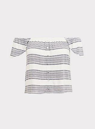 Super Soft Multi Stripe Off Shoulder Crop Top, STRIPES, flat