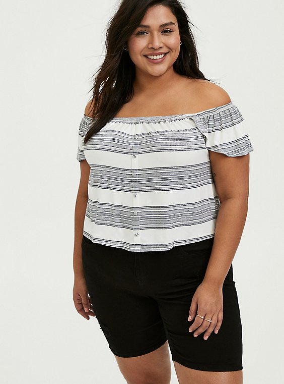Plus Size Super Soft Multi Stripe Off Shoulder Crop Top, , hi-res