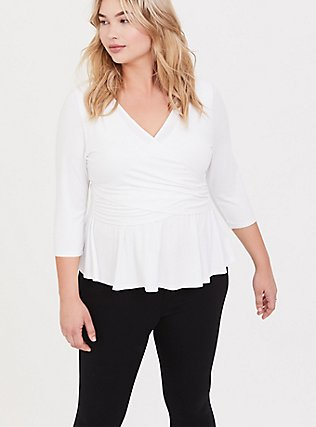 Super Soft White Surplice Peplum Top, WHITE, alternate