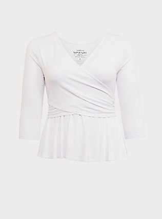 Super Soft White Surplice Peplum Top, WHITE, flat