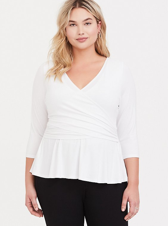 Plus Size Super Soft White Surplice Peplum Top, , hi-res