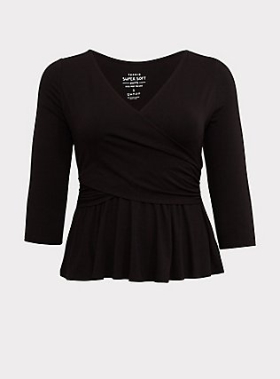 Super Soft Black Surplice Peplum Top, DEEP BLACK, flat