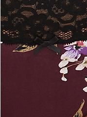 Burgundy Purple Floral Wide Lace Cotton Thong Panty, , alternate