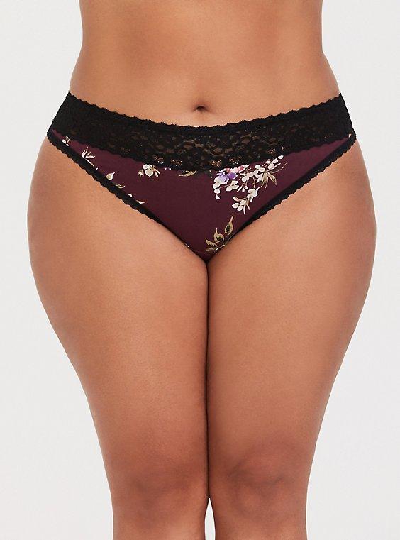 Burgundy Purple Floral Wide Lace Cotton Thong Panty, , hi-res