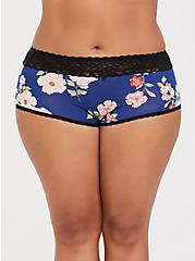 Blue Floral Wide Lace Cotton Brief Panty, , hi-res