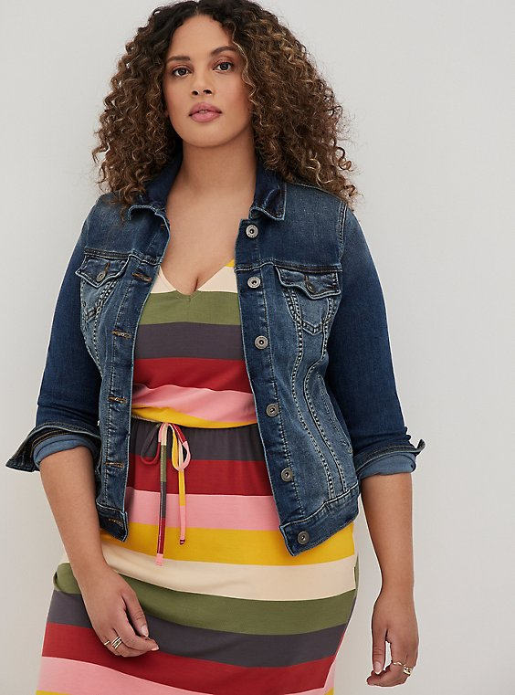 Plus Size Denim Trucker Jacket - Medium Wash, , hi-res