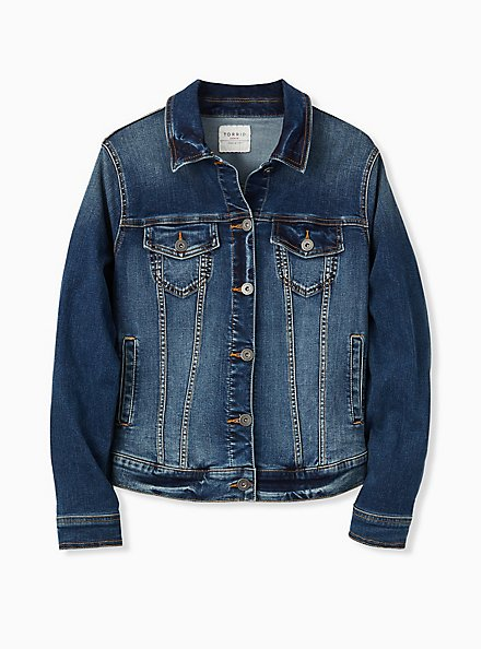 Denim Trucker Jacket - Medium Wash, DARK DENIM, hi-res
