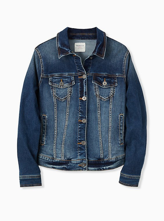 Denim Trucker Jacket - Medium Wash, DARK DENIM, ls