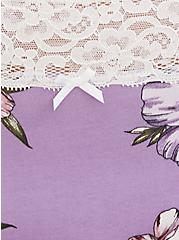 Lavender Purple Wide Lace Cotton Brief Panty, , alternate