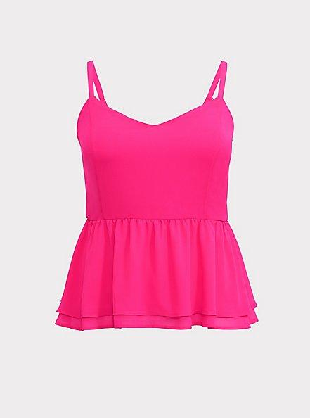 Hot Pink Chiffon Peplum Cami, NEON PINK, hi-res