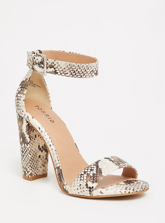 Snakeskin Print Faux Leather Ankle Strap Heel (WW), , hi-res