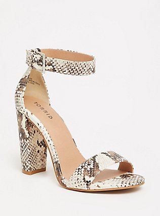 Snakeskin Print Faux Leather Ankle Strap Heel (Wide Width), ANIMAL, hi-res