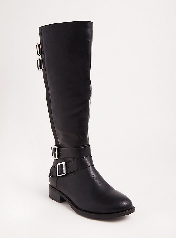 Black Faux Leather Tall Boots (Wide Width & Wide to Extra Wide Calf), , hi-res