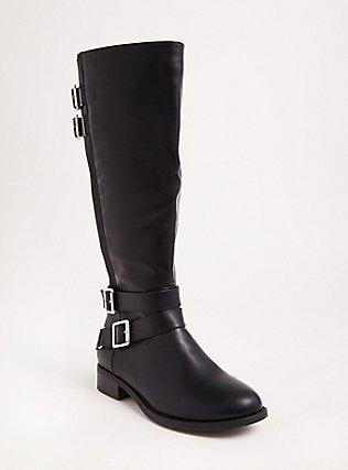 Black Faux Leather Tall Boots (Wide Width & Wide to Extra Wide Calf), BLACK, hi-res