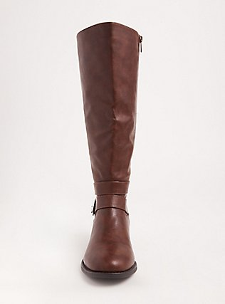 Chestnut Brown Faux Leather Tall Boot (WW & Wide To Extra Wide Calf), BROWN, alternate
