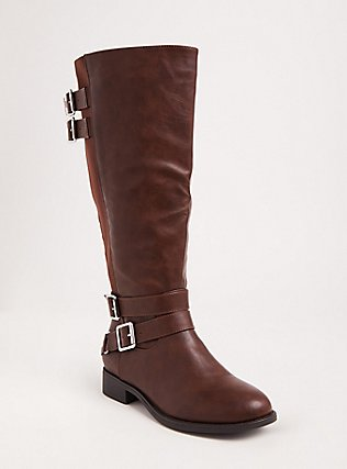 Cognac Faux Leather Tall Boot (Wide Width & Wide to Extra Wide Width Calf), BROWN, hi-res