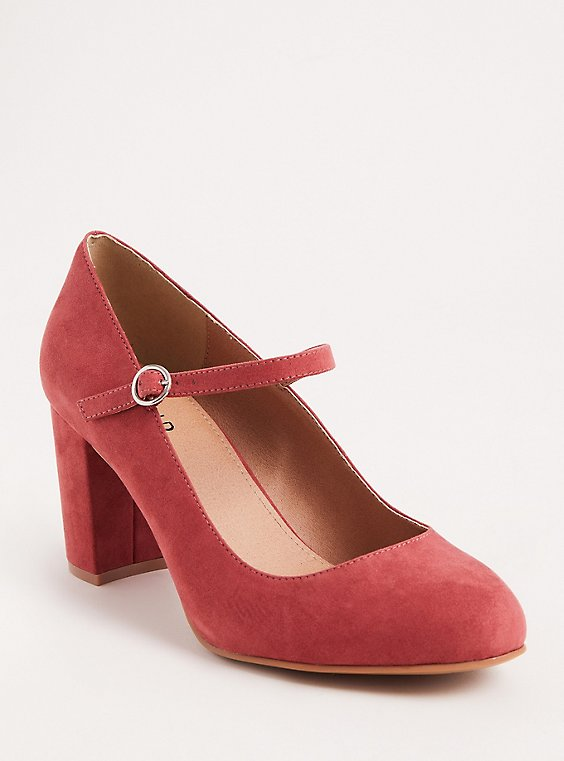 Blush Faux Suede Mary Jane Pump (WW), , hi-res