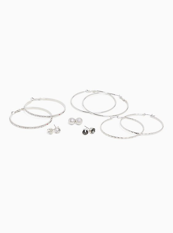 Stud & Hoop Earrings Set - Set of 6, , hi-res