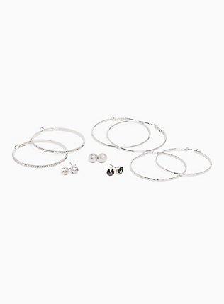 Stud & Hoop Earrings Set - Set of 6, , hi-res