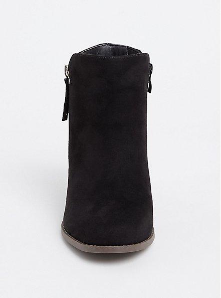 Black Faux Suede Double Zip Bootie (Wide Width), BLACK, alternate