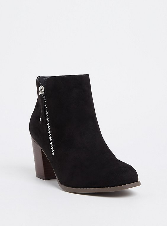 Black Faux Suede Double Zip Bootie (WW), , hi-res