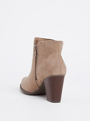 Taupe Faux Suede Double Zip Bootie (WW), GREY, alternate