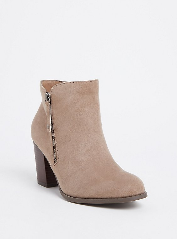 Plus Size Taupe Faux Suede Double Zip Bootie (WW), , hi-res