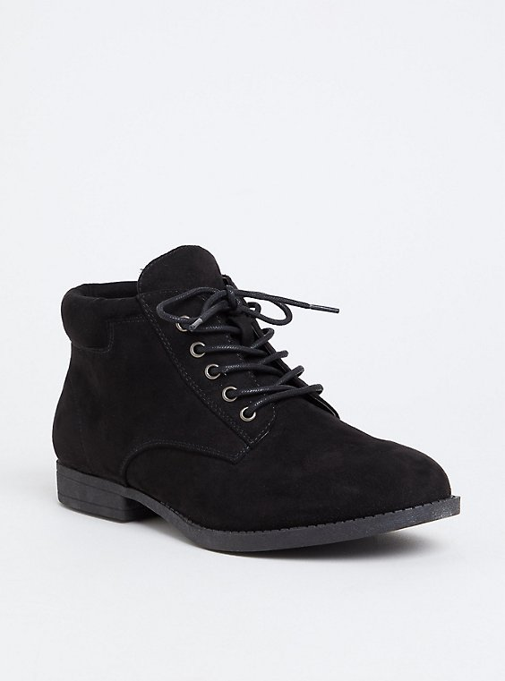 Black Faux Suede Lace-Up Boot (WW), , hi-res