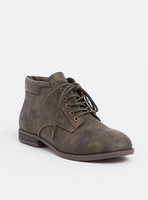 Olive Faux Leather Lace-Up Boot (WW), , hi-res