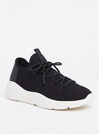 Plus Size Black Mesh Sneaker (WW), BLACK, hi-res