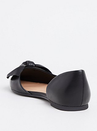 Black Faux Leather Pointed Bow D'Orsay Flat (WW), BLACK, alternate