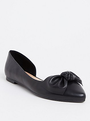 Black Faux Leather Pointed Bow D'Orsay Flat (WW), BLACK, hi-res