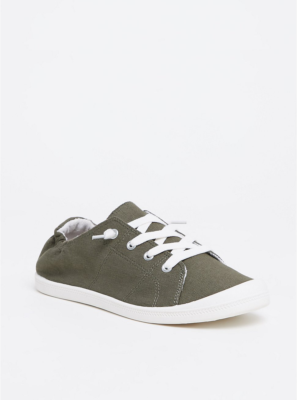 Olive Green Ruched Sneaker (WW), OLIVE, hi-res