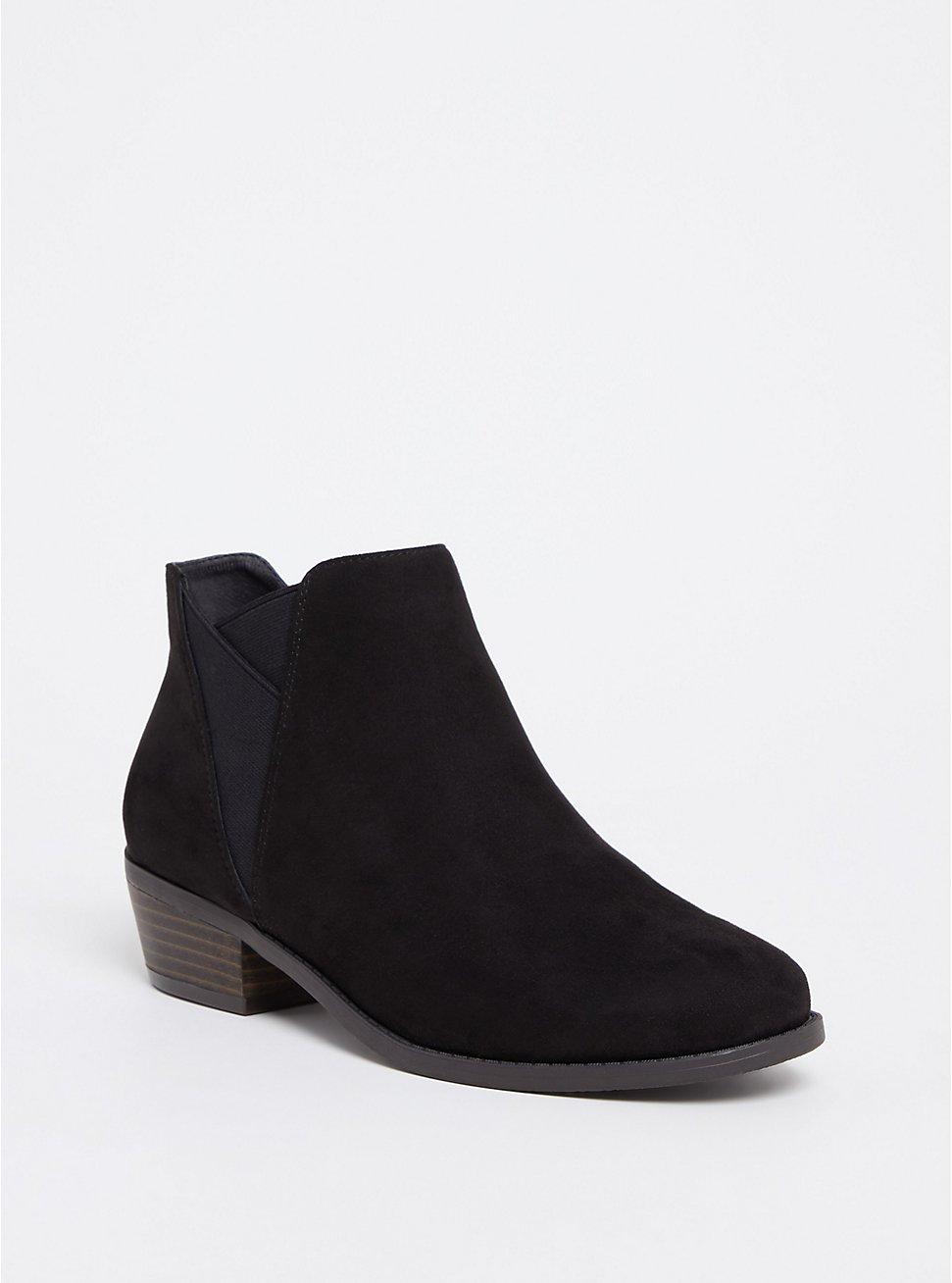 Black Faux Suede Ankle Boot (WW), BLACK, hi-res