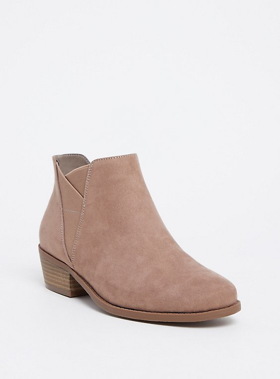 Taupe Faux Suede Elastic Bootie (WW), , hi-res