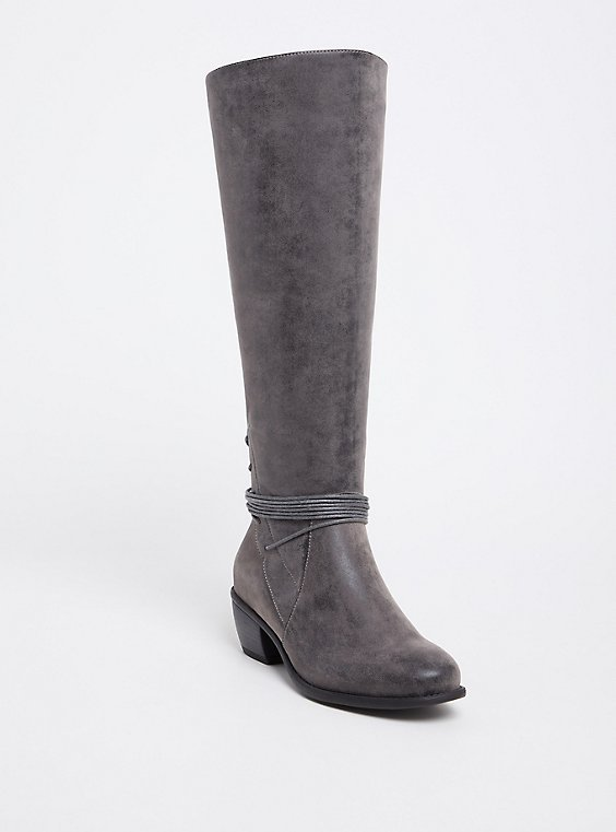 Grey Brushed Faux Leather Strappy Knee-High Boots (WW), , hi-res