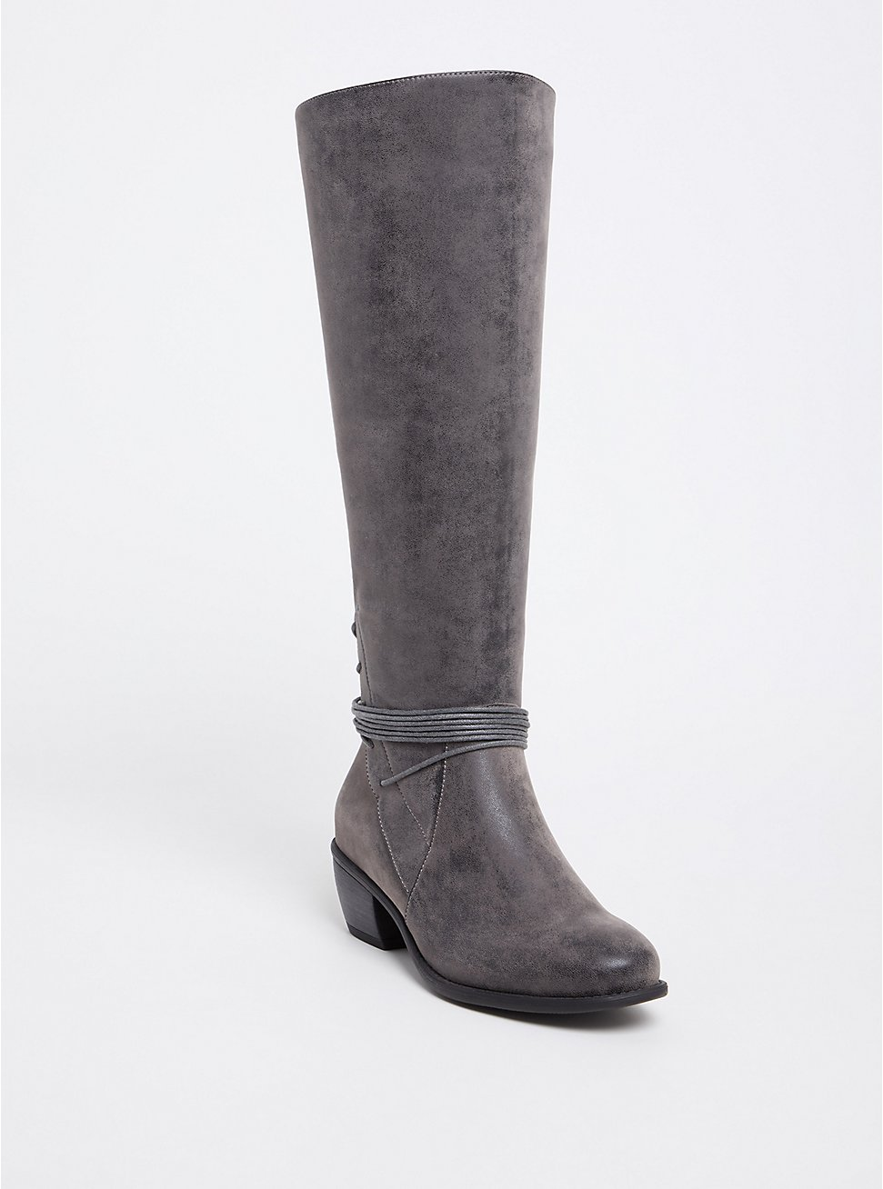 Grey Brushed Faux Leather Strappy Knee-High Boots (WW), GREY, hi-res