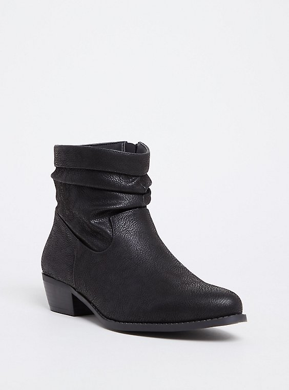 Black Pebble Faux Leather Western Slouch Bootie (WW), , hi-res