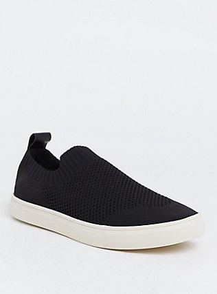 Black Sock Knit Sneaker (Wide Width), BLACK, hi-res